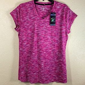 Beverly Hills Polo Club Top Tee Pink White XL NWT